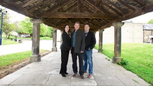 Kim, Alan and Simon of the Bingley Hub team, Market Buildings, 2012