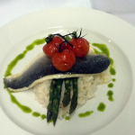 Fillet of Sea Bass, Asparagus Risotto & Cherry Vine Tomatoes – online recipes